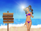 Girl on beach and signboard