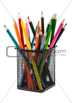 Color pencils in black metal container