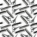 Seamless pattern of black-and-white hair-dressing tools