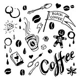 Set of hand drawn coffee theme elements, vector illustration