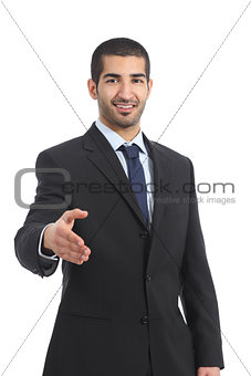 Arab businessman smiling ready to handshake