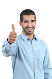 Arab casual happy man gesturing thumbs up
