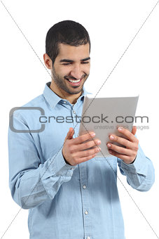 Arab happy casual man holding and reading a tablet reader
