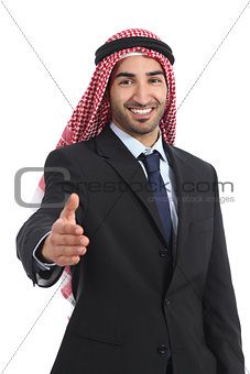 Arab saudi emirates businessman handshaking at camera