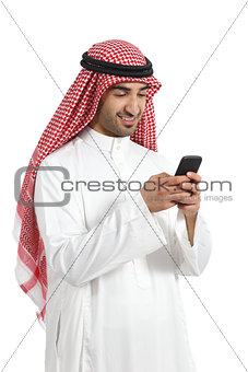 Arab saudi emirates happy man using a smart phone