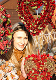portrait of woman at Christmas market, Vienna, Austria