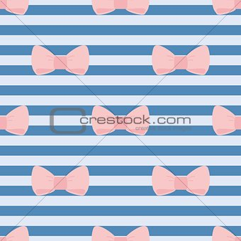 Tile vector pattern with pink bows on sailor blue stripes background