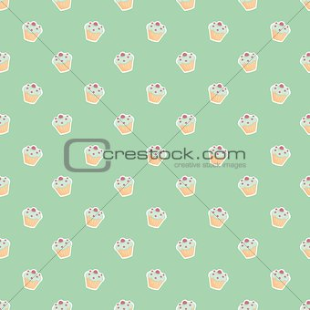 Tile pattern with cupcakes on green background