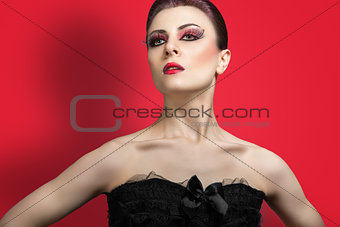 Beauty portrait of young red haired woman