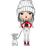 Vector hipster cute girl with a dog and a camera
