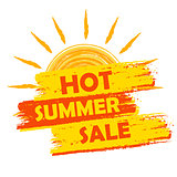 hot summer sale with sun sign, yellow and orange drawn label