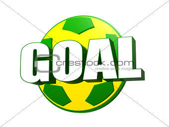 3d goal over soccer ball in Brazilian colors