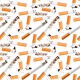 Seamless pattern of cigarette butt