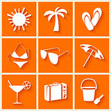 Summer and beach icons in flat style on orange background