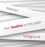White paper rectangle banner on abstract 3d background with drop shadows