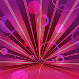 Abstract burgundy background with circles and radiating
