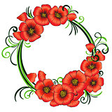 Floral frame with red poppies and green swirls