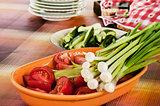 Fresh cut organic vegetables
