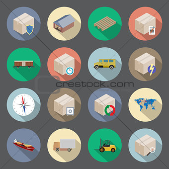 Transportation and delivery flat icons set