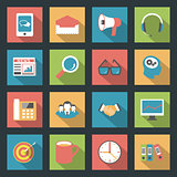 Marketing flat icons set