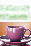 Purple coffee cup with espresso