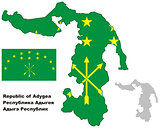 outline map of Adygea with flag