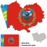 outline map of Altai krai with flag