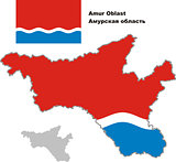 outline map of Amur Oblast with flag