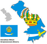 outline map of Astrakhan Oblast with flag