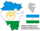 outline map of Bashkortostan with flag