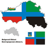 outline map of Belgorod Oblast with flag
