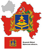 outline map of Bryansk Oblast with flag