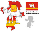 outline map of Chelyabinsk Oblast with flag