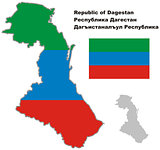outline map of Dagestan with flag