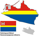 outline map of Kaliningrad Oblast with flag