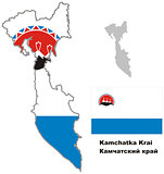 outline map of Kamchatka krai with flag
