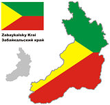 outline map of Zabaykalsky krai with flag
