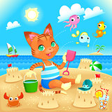 Young cat makes castles on the beach.