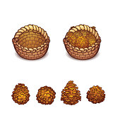 Vector illustration of basket with the pine cones