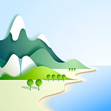 Paper mountain landscape