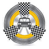 Metallic taxi badge design with tire tread