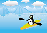 Vector - Penguin Kayak