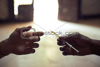 Drug abuse with people sharing the same syringe