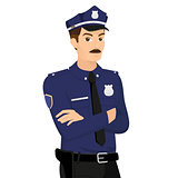 Policeman isolated on white illustration.
