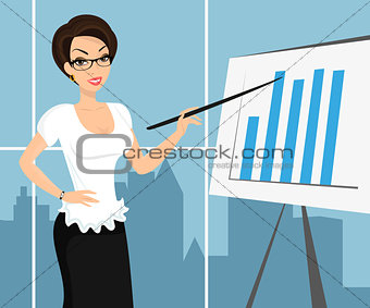 Business woman wearing white blouse and representing a diagram.
