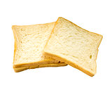 Slices of bread isolated on white background.