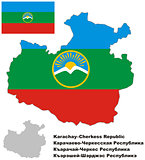 outline map of Karachay-Cherkessia with flag