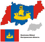 outline map of Kostroma Oblast with flag