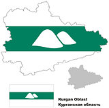 outline map of Kurgan Oblast with flag