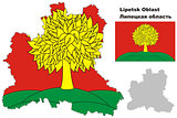 outline map of Lipetsk Oblast with flag